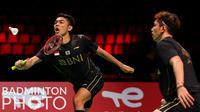 Atlet bulutangkis ganda putra Indonesia, Fajar Alfian dan Muhammad Rian Ardianto saat tampil melawan wakil Chinese Taipe di ajang Piala Thomas 2020, Denmark, Rabu (13/10/2021). (Badminton Photo/Yohan Nonotte)