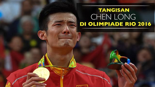 Video tangisan Chen Long usai taklukkan Lee Chong Wei di final tunggal putra Olimpiade Rio 2016, Sabtu (20/8).