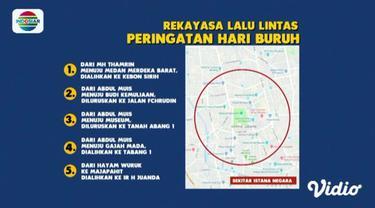 Polda Metro Jaya merekayasa arus lalu lintas di sejumlah titik kumpul massa dalam peringatan Hari Buruh Sedunia di Jakarta.