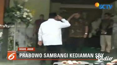 Takziah ke rumah Susilo Bambang Yudhoyono, Prabowo Subianto minta maaf tak bisa hadiri pemakaman almarhum Ani Yudhoyono.