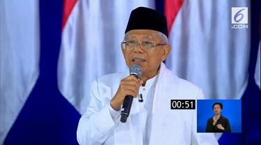 Calon wakil presiden nomor urut 01 Ma'ruf Amin dalam Debat Kelima Pilpres 2019. (Liputan6.com)