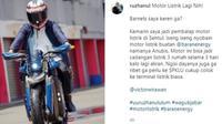 Wakil Gubernur Jawa Barat Uu Ruzhanul Ulum menjajal motor listrik di Sirkuit Sentul. (Instagram/@ruzhanul)