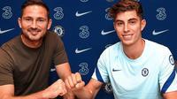 Manajer Chelsea Frank Lampard dan Kai Havertz usai menandatangani kontrak lima tahun. (foto: instagram.com/chelseafc)