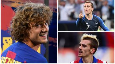 Pemain anyar Barcelona, Antoine Griezmann, ternyata suka bergonta-ganti gaya rambut dan menjadi sorotan penggemarnya. Berikut evolusi gaya rambut Griezmann. (Foto kolase AFP)