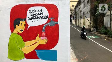 Pengendara sepeda motor melintas di depan mural dan akses khusus pejalan kaki di Jalan Darul Maarif, Jakarta Selatan, Rabu (11/3/2020). PT MRT Jakarta berkolaborasi dengan ITDP menata jalan-jalan sekitar stasiun untuk meningkatkan aksesibilitas warga sekitar. (Liputan6.com/Immanuel Antonius)