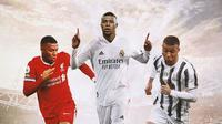 Ilustrasi - Kylian Mbappe montase pakai jersey Real Madrid, Juventus, Liverpool (Bola.com/Adreanus Titus)