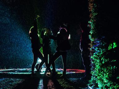 """Siluet Sejumlah pengunjung saat berada di dekat seni instalasi cahaya """"Painting the Night"""" karya seniman Austria Victoria Coeln saat hujan turun di taman Heruerhae Gaerten di Hanover, Jerman utara, (4/5). (AFP Photo/dpa/Silas Stein/Jerman Out)"""