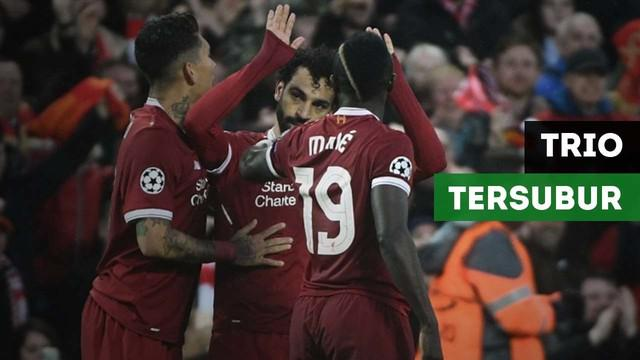 Mohamed Salah, Roberto Firmino dan Sadio Mane jadi trio tersubur dalam satu musim Liga Champions.