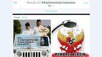 Pasca MK menolak seluruh gugatan hasil Pilpres 2014 yang diajukan Prabowo-Hatta, hastag #RIPDemokrasiIndonesia menjadi populer di Twitter.
