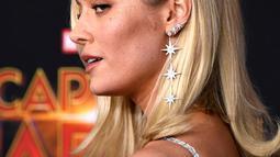 """Aktris Brie Larson berpose saat menghadiri pemutaran perdana film """"Captain Marvel"""" di Hollywood, California, AS (4/3). Aktris berusia 29 tahun ini merupakan pemeran Carol Danvers di film Captain Marvel.  (AFP Photo/Frazer Harrison)"""
