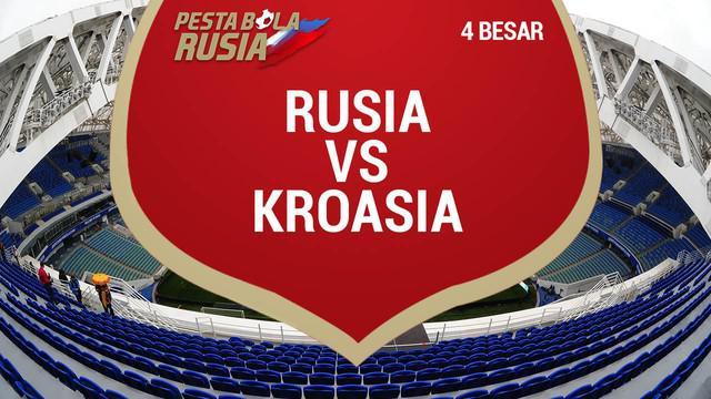 Kroasia menang 4-3 melalui adu penalti atas Rusia dalam perempat final Piala Dunia 2018, di Stadion Olimpiade Fisht, Sabtu (7/7) atau Minggu dini hari WIB.