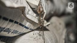 Sarang laba-laba terlihat di antara tumpukan karung beras Bulog akibat bertahun-tahun tersimpan di Gudang Bulog Divisi Regional DKI Jakarta, Kelapa Gading, Kamis (18/3/2021). Seperti diketahui, saat ini Perum Bulog masih memiliki stok beras impor dari pengadaan tahun 2018 lalu. (merdeka.com/Iqbal S