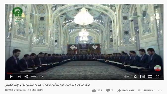 Gambar Tangkapan Layar Video dari Channel YouTube قناة القرآن الكريم الإيرانية Iranian Quran channel.