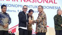"""Seminar Nasional dengan tema """"Kebijakan Sektor Tenaga Kerja untuk mendukung Transformasi Ekonomi"""" dalam rangka 53 Tahun Kemenko Perekonomian, di Jakarta, Jum'at (9/8/2019)."""