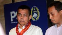 Plt Ketum PSSI Hinca Pandjaitan dan Sekjen PSSI Azwan Karim (Risa Rahayu/Liputan6)