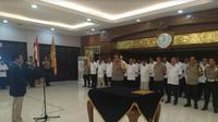 Pelantikan Ketua Umum Pengurus Provinsi PBVSI Jawa Timur periode 2019-2023 di Mapolda Jatim. (Foto: Liputan6.com/Dian Kurniawan)