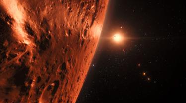 Tampilan di atas permukaan salah satu planet dalam sistem Trappist-1 yang dirilis oleh NASA, Washington, AS, Rabu (22/2). Para astronom menemukan sistem bintang yang dekat dengan sistem tata surya. (AFP PHOTO / M. Kornmesser)