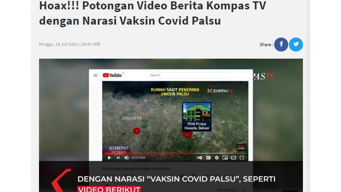 Cek Fakta Liputan6.com menelusuri klaim vaksin Covid-19 palsu pada pemberitaan Kompas Tv
