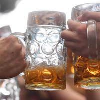 Pengunjung festival Oktoberfest bersulang dengan gelas berisi bir di tempat peristirahatan Theresienwiese di Munich, Jerman selatan (24/9). Festival bir terbesar di dunia ini berlangsung sampai 3 Oktober 2017. (AFP Photo/dpa/Tobias Hase/Germany Out)
