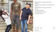 Rahmadi (22), seorang warga Kampung Tanjung Parangat, Berau, Kalimantan Timur, punya ukuran tubuh berbeda dari kebanyakan orang. (@agus.tantomo)