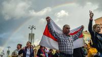 Aksi unjuk rasa di kota Minsk, Belarusia untuk menuntut Presiden Lukashenko mundur dari jabatannya. (AFP / Sergei Gapon)