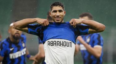 Foto Liga Italia: 2 Gol Achraf Hakimi Lengkapi Kemenangan 3-1 Inter Atas Bologna
