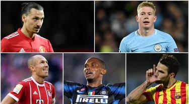Berikut ini para pemain bintang yang pernah ditangani dua pelatih top, Pep Guardiola dan Jose Mourinho. Diantaranya, Samuel Eto'o, Zlatan Ibrahimovic dan Kevin De Bruyne.
