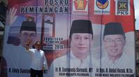 Eddy Santana Putra (ESP) memilih mendukung paslon Sarimuda-Rozak di Pilkada Palembang (Liputan6.com / Nefri Inge)