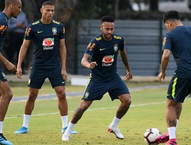 Intip Neymar Cs Latihan Jelang Lawan Senegal di Singapura