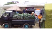 Koperasi Produsen Singgalang Sari Maju (PSSM), memberikan bantuan berupa produk Nanas segar jenis Smooth Cayene.