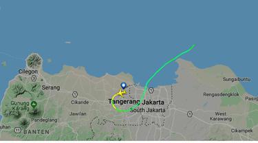 Rute terakhir yang ditempuh pesawat Lion Air JT 610 dari Jakarta ke Pangkalpinang (Google/FlightRadar)