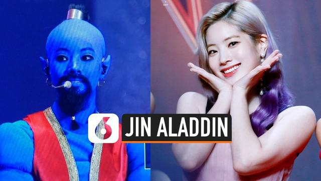 Berwajah cantik ternyata tak menjadi halangan bagi Dahyun untuk bertingkah nyeleneh. Dalam fan meeting untuk merayakan ultah keempat grupnya, Dahyun Twice tampil seperti jin Aladdin. Wajahnya diwarnai cat biru, lengkap dengan kostum uniknya.