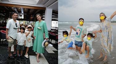 6 Momen Liburan Judika dan Duma Riris di Bali, Ajak Anak Main di Pantai