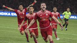 Striker Persija Jakarta, Marko Simic, merayakan gol yang dicetaknya ke gawang Bali United pada final Piala Presiden di SUGBK, Jakarta, Sabtu (17/2/2018). Persija menang 3-0 atas Bali United. (Bola.com/Vitalis Yogi Trisna)