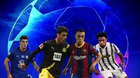 Liga Champions - Christian Pulisic, Giovanni Reyna, Sergino Dest, Weston McKennie (Bola.com/Adreanus Titus)