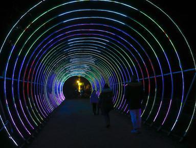 Para pengunjung berjalan di dekat instalasi cahaya di Chiswick House and Gardens dalam acara resmi penyalaan Festival Lightopia (sesi pemotretan) di London, Inggris (21/1/2020). Lightopia dibuka untuk umum dari 22 Januari hingga 1 Maret. (Xinhua/Han Yan)