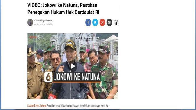 [Cek Fakta] Jokowi Sebut Kapal China Masuk ke Natuna Untuk Ambil Ikan Miliknya Sendiri, Benarkah?