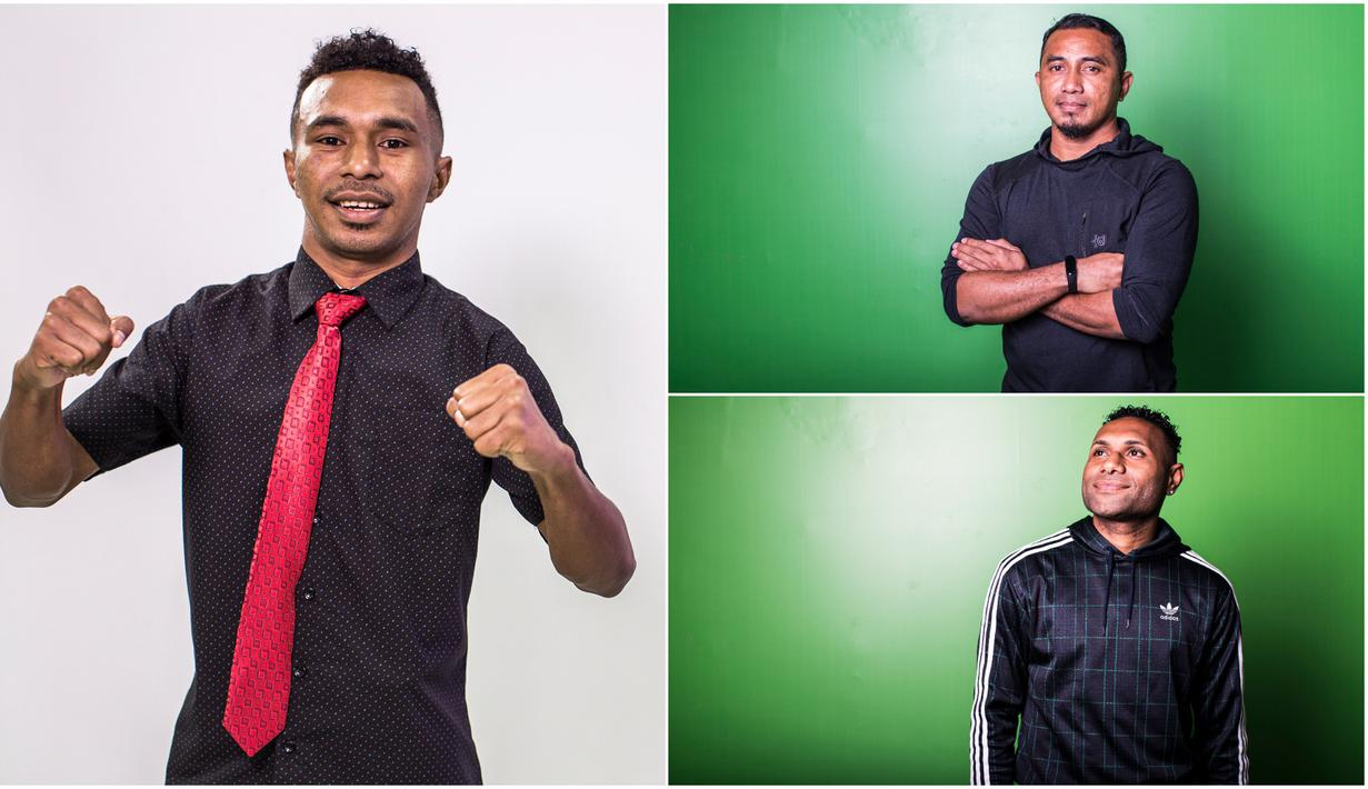 Sebelum berlangsungnya malam penghargaan Indonesian Soccer Awards, sejumlah pemain maupun mantan pemain diminta untuk foto sesi. Di luar lapangan hijau, para pemain tersebut tetap tampil keren dengan gaya masing-masing. (Kolase Foto Bola.com)