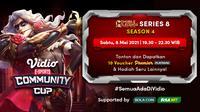 Streaming Vidio Community Cup Season 4 : Mobile Legends Series 8 di Vidio. (Sumber : dok. vidio.com)