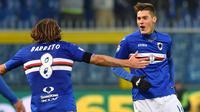 Striker Sampdoria, Patrik Schick, melakukan selebrasi usai mencetak gol ke gawang Torino pada laga lanjutan Serie A di Stadion Luigi Ferraris, Genoa, (04/12/2016). (EPA/Simone Arveda)