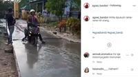 Pemotor Ini Libas Jalanan yang Lagi Dicor (Instagram @agoez_bandz4)