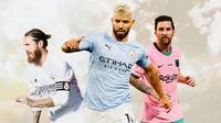 Ilustrasi - Sergio Ramos, Sergio Aguero, Lionel Messi (Bola.com/Adreanus Titus)