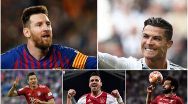 Pemain Barcelona, Lionel Messi, menjadi pencetak gol terbanyak di Champions League 2018-2019 dengan 12 gol. Sedangkan, striker Bayern Munchen, Robert Lewandowski, berada di urutan kedua yang disusul oleh Cristiano Ronaldo. (Kolase foto AFP)