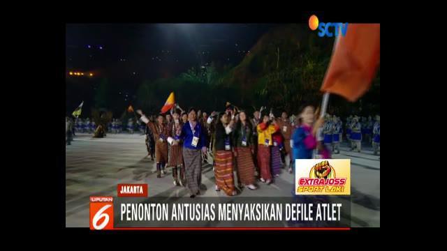 Para atlet dari 45 negara dan tamu undangan antusias mengikuti rangkaian acara yang dikemas megah di Gelora Bung Karno, Jakarta.