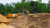 Penambangan ilegal di kawasan hutan produksi yang diungkap Direktorat Reserse Kriminal Khusus Polda Riau. (Liputan6.com/M Syukur)