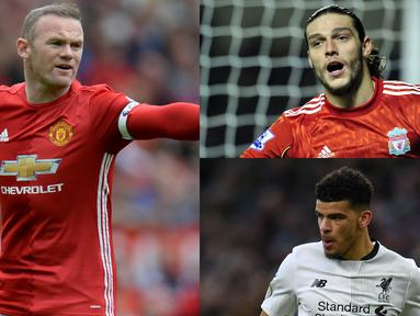 Inggris dikenal mampu menghasilkan striker yang memiliki kualitas yang mumpuni. Muali dari Michael Owen, Alan Shearer hingga Wayne Rooney. Tak mengherankan banyak striker berkebangsaan Inggris ditebus dengan harga  mahal. (Kolase Foto AFP)