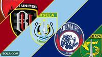 Trivia - Logo Klub PSM Makassar, Bali United, Persela, Arema, Persebaya (Bola.com/Adreanus Titus)