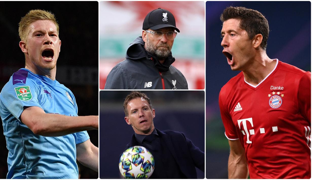 UEFA resmi mengumumkan tiga finalis penghargaan UEFA Men's Player of the Year dan tiga finalis UEFA Men's Coach of the Year. Berikut daftar finalis nominasi UEFA Men's Player of the Year dan UEFA Men's Coach of the Year. (kolase foto AFP)