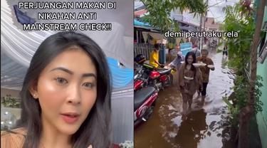 Viral Perjuangan Makan di Nikahan saat Banjir, Curi Perhatian Warganet