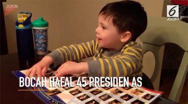 Memiliki kecerdasan tinggi, bocah berusia 3 tahun ini hafal semua nama 45 nama Presiden AS.
